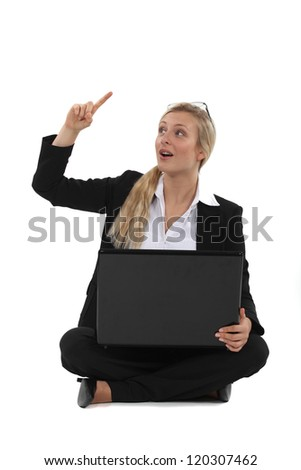 Woman with an idea - stock photo