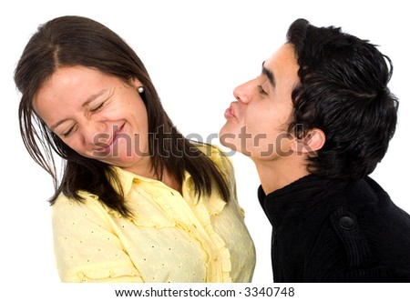 woman with an unwanted boyfriend - isolated over a white background - stock photo