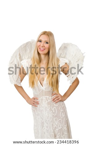 Woman with angel wings isolated on white - stock photo