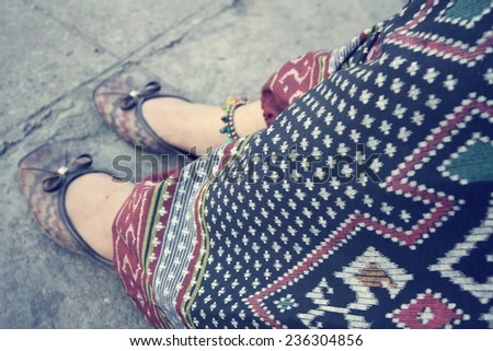 woman with anklet - stock photo