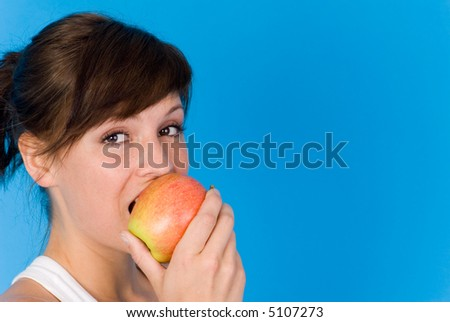 woman with apple - stock photo