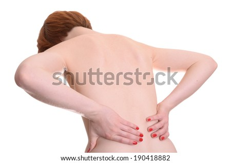 Woman with backache isolated on white background