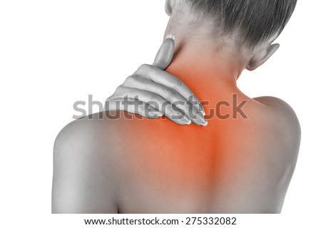 Woman with backache isolated on white background. Pain concept - stock photo