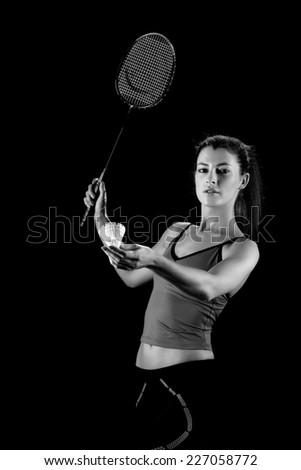 woman with badminton racket - stock photo