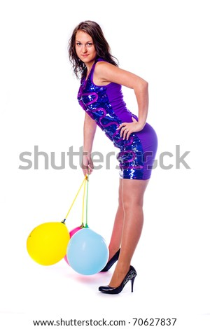 Woman with ballons in studio isolated on white