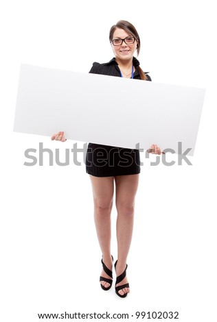 Woman with banner. Isolated over white. - stock photo