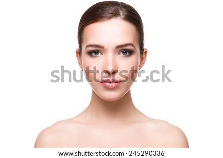 Woman with beautiful face on white background - stock photo