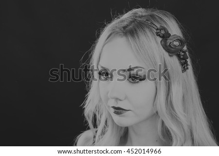 Woman with beautiful hair black and white portrait