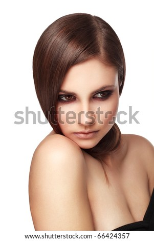 woman with  beautiful hair isolated on white - stock photo