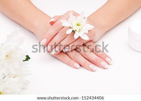 Woman with beautiful manicured nails - stock photo