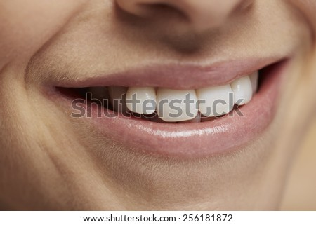 Woman with beautiful smiling, close up, shallow depth of field