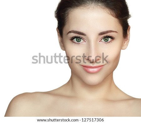 Woman with beauty face looking with smile. Front isolated portrait on white background - stock photo