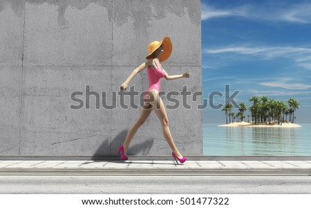 Woman with big hat passes a wall to the beach. This is a 3d render illustration
