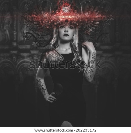 woman with black dress and tiara iron gothic fantasy shapes cathedral background - stock photo