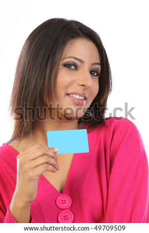 woman with blank card - stock photo