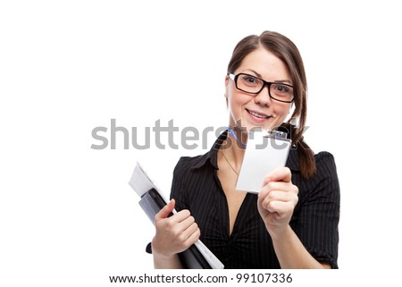 Woman with blank id card. Isolated over white.