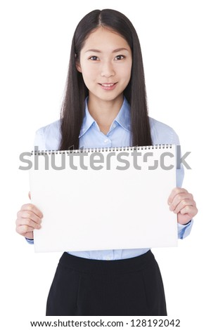 Woman with blank message board