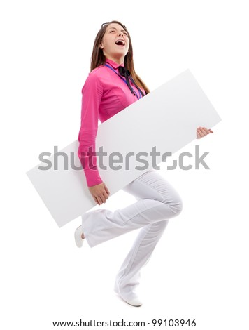 Woman with blank placard. Isolated over white.
