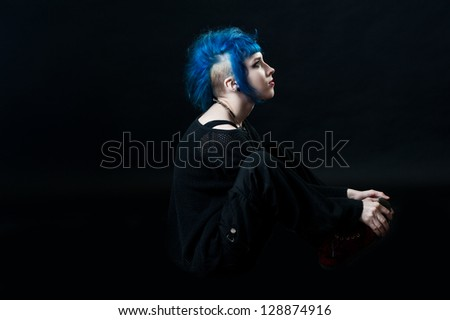 woman with blue hair. punk