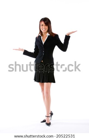 woman with both palms open full figure - stock photo