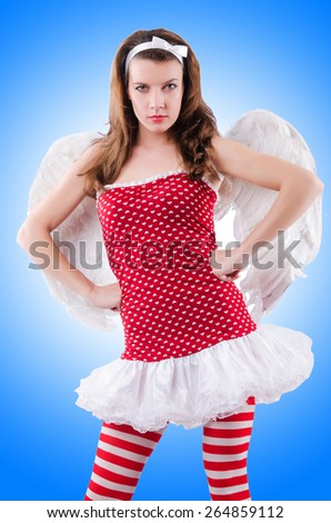 Woman with bow in valentine concept - stock photo