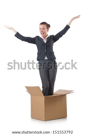 Woman with boxes on white - stock photo