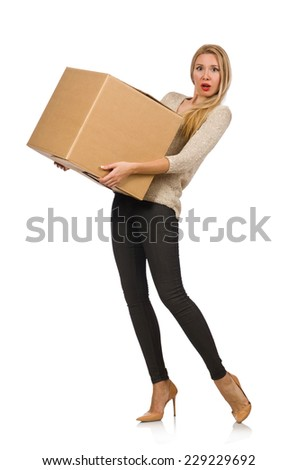 Woman with boxes relocating to new house isolated on white - stock photo
