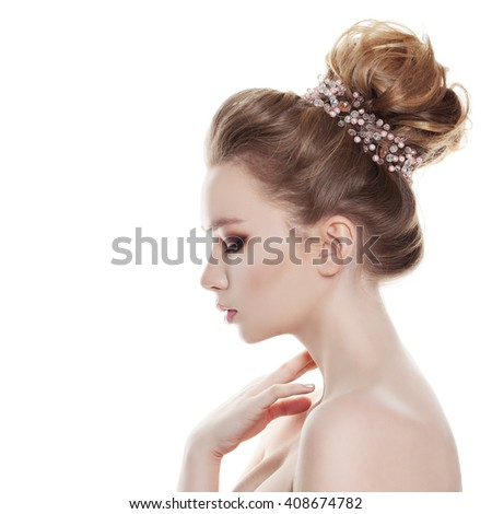 Woman with Bridal Hairstyle Isolated on White Background. Profile - stock photo