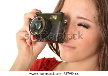 Woman With  Camera over white background