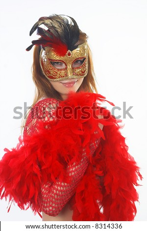 woman with carnaval mask