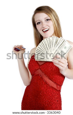 Woman with Cash and Poker Chips