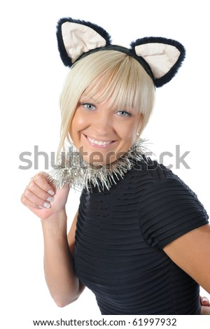 woman with cat ears. Isolated on white background - stock photo