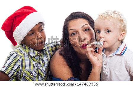Woman with children celebrate Christmas, isolated on white background. - stock photo