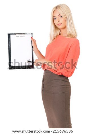 Woman with clipboard - stock photo