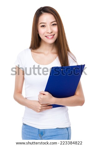 Woman with clipboard