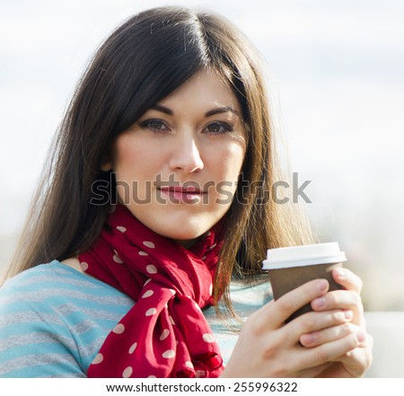 Woman with Coffee  Cup. Selective focus