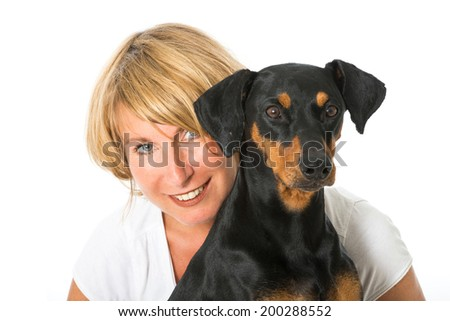 Woman with dog isolated on white