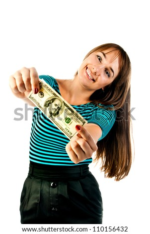 woman with dollars isolated on a white background