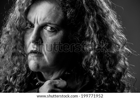 woman with doubt look - stock photo