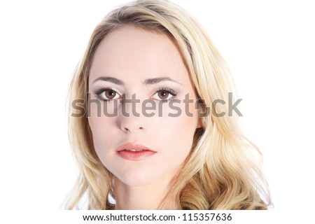 Woman with expressionless face and deadpan expression isolated on white - stock photo