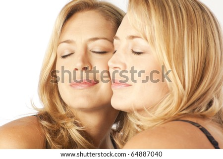 Woman with face pressed against mirror