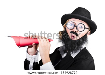 Woman With Fake Beard And Mustache Holding Paper Megaphone On White Background