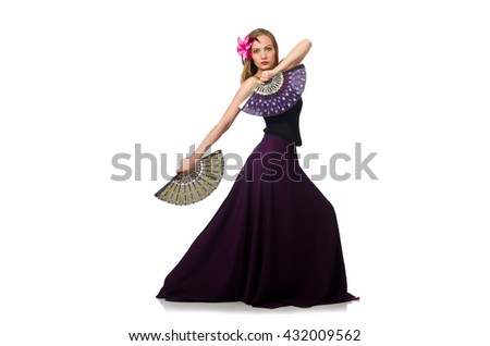 Woman with fan dancing dances isolated on white - stock photo