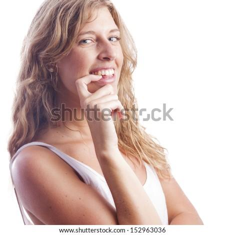 woman with flirt gesture - stock photo