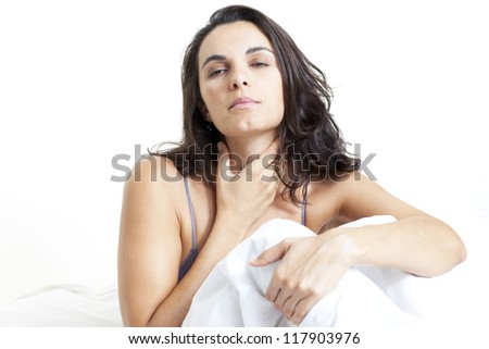 woman with flu - stock photo