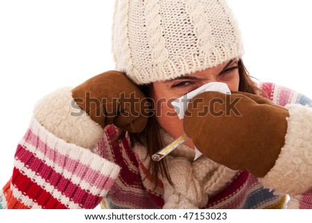 woman with flu symptom  (isolated on white) - stock photo