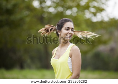 Woman with flying hair