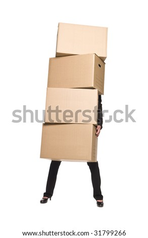 Woman with four boxes - stock photo