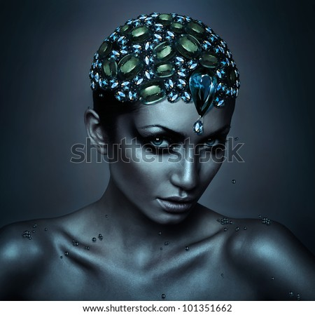 woman with gemstone head - stock photo