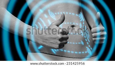 Woman with gesture sign thumb up in front of her abdomen, monochrome image. Arrows on belly, fat loss and liposuction concept - stock photo